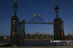 Through the Water Gate (Mark R Farrington) Tags: uk england london heritage history contrast canon photography eos gate commerce south greenwich bluesky maritime 7d canarywharf oldandnew navalcollege isleofdogs desc2012
