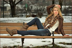 IMG_6222_Sam on a bench...... (donaldbrainard1) Tags: park winter snow girl leather female scarf canon river bench person model pretty boots jeans jacket 7d blonde