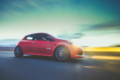 Clio RS 200 (MattSmithh) Tags: sunset sky urban motion colour car speed canon french photography track angle pastel wide sigma automotive renault rig hr 1020mm brembo recaro renaultsport 60d rigshot