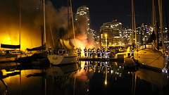 40 Foot Yacht Fire in False Creek (bcfiretrucks) Tags: bridge canada water vancouver creek marina island fire coast pier boat dock marine bc yacht granville smoke flames guard vessel columbia canadian sail civic british department fireboat false hovercraft burrad