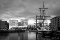 Albert Docks (PaulGibsonPhoto) Tags: sea sky bw port liverpool grey mono ship fuji yacht stormy maritime fujifilm mersey albertdock merseyside x100s