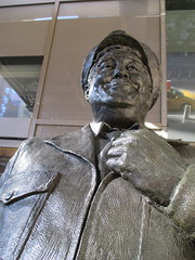 Ralph Kramden on a Sunny Day 3656 (Brechtbug) Tags: new york city winter holiday cold bus weather statue bronze port lunch is jackie uniform day authority january tie sunny front terminal an midtown his while chilly jolly gleason ralph stands drivers straightening pail clutching clad manhattans honeymooners 2015 kramden eightfoottall kramdon 01082015