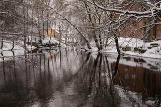 Aker river in winter