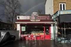 Fish & chips and a rainbow (Spannarama) Tags: uk sunlight london sunshine rainbow blackheath chipshop fishandchips darkcloud wetpavement stormyskies fishandchipshop