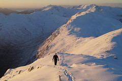 Man in the landscape (christianbartlett) Tags: winter portrait people mountain snow man mountains beauty landscape person scotland highlands scenery outdoor hills walker landschaft snowscape schottland hillwalking scrambling munro scottishhighlands glenshiel winterclimbing sgurranlochain thesouthglenshielridge