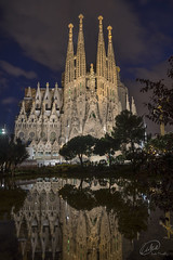 Sagrada Familia - Reflective (manphibian) Tags: barcelona trees church water silhouette architecture night clouds buildings reflections spain cathedral basilica sony gothic gaudi catalunya sagradafamilia sagrada catalan famila cataluna gmaster sonya7