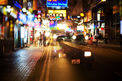 into the deep end (MdKiStLeR) Tags: street urban motion blur color night hongkong lights movement asia neon taxi thisisit 2016 urbanx thisisthefuture mdkistler copyrightmichaelkistler intothedeepend