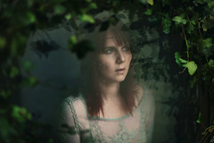 Ivy (Ella Ruth) Tags: portrait woman green window nature overgrown girl fairytale reflections dark 50mm nikon photographer shadows shropshire embroidery leicester 14 surreal ivy naturallight shrewsbury ethereal d750 raindrops naturereclaims embroidereddress ellaruth