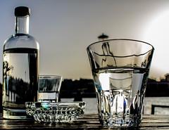 Thirsty by landscape's beauty! (Antonis Kourkoumelakis) Tags: summer sky water glass bottle nikon bokeh greece crete various v1 chania 10mm 2016 nikon1 nikon1v1 nikonv1