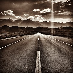 On the road (VanhalaK) Tags: road sky blackandwhite bw mountains mobile clouds mono nevada bnw oneplustwo oneoplus