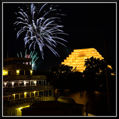 Fireworks_3795 (bjarne.winkler) Tags: from ca bridge cats moon game building tower home river with notice fireworks side delta queen east sacramento behind lunar ziggurat the