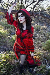 Through the Woods 7622 (JoDi War) Tags: trees sunset red wild nature grass fairytale dark lost blood woods wolf dress boots lace gothic victorian velvet hood storybook rhyme grandmothershouse nurseryrhyme throughthewoods storytale