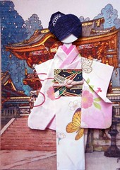 ATC1317 - After a temple visit (tengds) Tags: pink flowers brown black atc artisttradingcard butterfly asian temple japanese card geisha kimono obi papercraft japanesepaper washi ningyo handmadecard chiyogami japanesewoodblockprint japanesepaperdoll nailsticker paperscrap origamidoll nailartsticker tengds origamiwashi