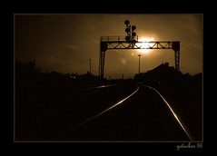 Sunset on the Rails - Indiana (the Gallopping Geezer 3.5 million + views....) Tags: railroad travel sunset film night canon evening 1996 tracks indiana trains transportation passenger freight geezer corel