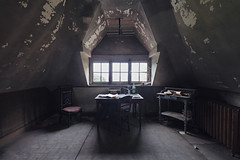 (Subversive Photography) Tags: shadow red house abandoned architecture dark office bottle chair belgium decay atmosphere study urbanexploration chateau manor derelict urbex degraded danielbarter
