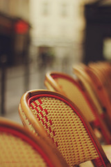 Chairs (nina's clicks) Tags: street red paris zeiss general chairs bokeh ze hbw planart1450