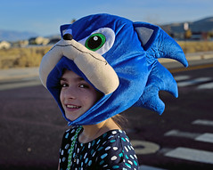 Huge Sonic Hat (JasonCameron) Tags: silly cute girl strange hat fun costume kid funny lol character helmet sonic hedgehog wtf