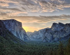 Tunnel View (Kirby Wright) Tags: california park morning trees colors clouds sunrise 35mm three nikon brothers f14 el national valley yosemite d3 manfrotto capitan