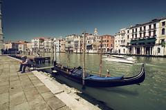 Venice (Samhainer) Tags: venice italy house man green water boat stones canals gondola venezia venesia