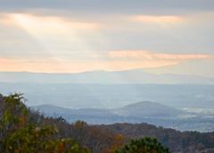light beams, Shenandoah National Park,