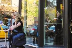 waiting blonde (omoo) Tags: newyorkcity window glass reflections westvillage streetscene starbucks coffeebreak greenwichvillage dscn6324 womanwithluggage west10thandhudson waitingblonde girlinstarbuckswindow
