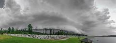 Shelf Cloud (Nick A. Hurst) Tags: trees sky panorama lake storm green water weather clouds pier spring al rocks dam pano bama alabama wide may panoramic severeweather iphone wx shelfcloud alwx