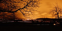 My home town at night (fxdx) Tags: city trees sky home silhouette night lights traffic rx100m2