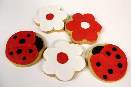 Ladybug and flower sugar cookies