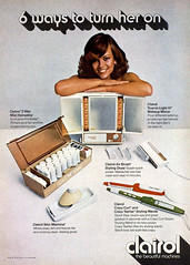 Clairol's 6 Ways to Turn Her On, 1974 (Tom Simpson) Tags: sexy vintage hair advertising mirror ad brush advertisement grooming curlingiron airbrush hairbrush curlers hairrollers clairol makeupmirror turnheron