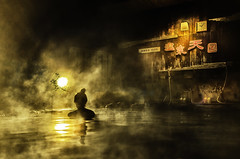 Japanese hot spring (mixture bath for male and female) (tmamashita) Tags: light woman hot water beauty japan misty night gold spring traditional country steam wa onsen atagawa onnsen