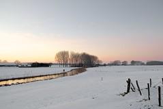 Burning river (Harm Weitering) Tags: winter zonsondergang bomen sneeuw brabant landschap reflectie rivier fortbakkerskil hollandsewaterliniebrabants