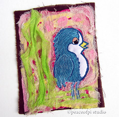 Bluejay Beauty (JoMo (peaceofpi)) Tags: canada bird sewing character bluejay bluebird textileart artquilt rawedge loosethreads peaceofpi