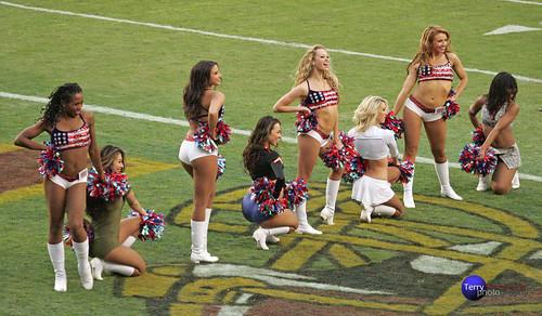 Redskinette Cheerleaders Taryn W., Masako, Jade, Maigan, Rachel K., Jennifer, Meag, and Latasha.