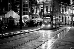 Le Mans by Night 11 (Barthmich) Tags: street bw white black france rain night 50mm noir fuji streetphotography pluie nb rue nuit tramway blanc lemans  lightroom pentaxk xe2