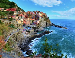 manarola view from a restaurant/bar (Rex Montalban Photography) Tags: italy europe liguria cinqueterre manarola hdr italianriviera stitchedpanorama nikond600 rexmontalbanphotography 3imagesstitchedportraitcomposition
