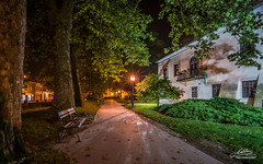 Samobor by night ... (Milan Z81) Tags: trees lamp museum night bench town europe croatia lampa grad hrvatska no samobor muzej klupa etnica walktrail