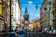 Jindrisska Tower Prague (massimilianodelnoce) Tags: street city travel light sky tower colors landscape nikon czech prague tamron cpl hoya d3200 jindrisska