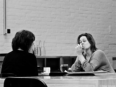 Coffee and tea (Akbar Simonse) Tags: people bw holland blancoynegro netherlands coffee monochrome restaurant women tea zwartwit candid nederland streetphotography bn inside tilburg thee koffie dscn1371 straatfotografie akbarsimonse