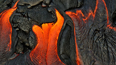 Three Devils (Kevin Benedict Photography) Tags: travel abstract hot closeup sunrise landscape flow volcano hawaii lava nationalpark nikon glow close cloudy low helicopter heat bigisland hilo volcanoes volcanic erupt eruption kilauea molten maunaloa flank puuoo photobenedict