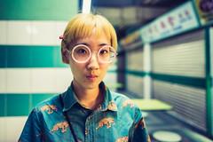 Sage (Jon Siegel) Tags: people woman girl beautiful fashion night asian glasses evening cool nikon singapore chinatown pattern unique 14 chinese sigma style places blonde 24mm hawker stylish singaporean hawkercentre d810 sigma24mmf14art foodcourtlowlight