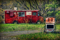 Done Fueling (sminky_pinky100 (In and Out)) Tags: red canada green abandoned rural landscape outdoors novascotia decay rusty ruraldecay decaying gaspump foodwagon omot cans2s mobilecateringfoodvan