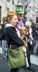 More Dogs (and people) at the Easter Parade (UrbanphotoZ) Tags: nyc newyorkcity flowers ny newyork dogs couple veil manhattan rockefellercenter pug midtown birdsnest greenbag fifthave borderterrier greenhat marchers easterparade headpiece greencarnation