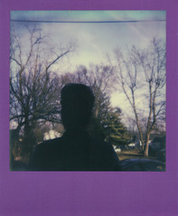 Oh yea, why didnt Karla come to school? (H o l l y.) Tags: trees winter shadow portrait sky girl silhouette analog self vintage project hair polaroid purple retro frame indie impossible