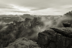 it`s cooking (miyagimovies) Tags: longexposure travel bw mist nature monochrome rain weather misty fog canon germany landscape grey dresden blackwhite europe alone hiking saxony sigma 1750 dust travelphotography saxonswitzerland wanderust