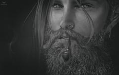 Lichi~Tha beard man... (Skip Staheli (Clientlist closed)) Tags: portrait bw male closeup dark beard brother smoke pipe hunk sl secondlife pileup skipstaheli lichimoonwall
