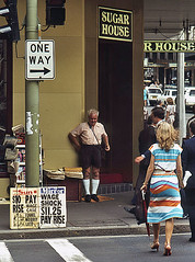 Sugar House, Pitt Street, Sydney - 1980 view (Bingley Hall) Tags: australia newsouthwales nsw sydney streetscape 1980 newsvendor paperboy sugarhouse pittstreet
