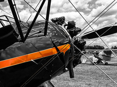 Wind in the wires.... (tbower) Tags: airplane geotagged nikon raw waco pennsylvania aviation coolpix nrw biplane selectivecolor cs6 lockhavenpa upf7 p330 niksep