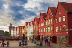 Bergen (alanrharris53) Tags: wood painting paint shops bergen seafront bryggen warehouses