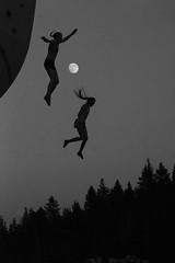 Moon Fall (Amicus Telemarkorum) Tags: sky moon fall utah jump flight moonrise jeffrueppelphotography delaneymiller gracemckeehan psicobloc2014utahartsy
