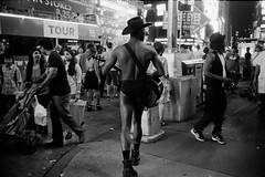 Times square (varjagg) Tags: new leica york city nyc black hat 35mm naked cowboy kodak guitar trix august 11 400tx summicron 400 pro f2 eco legacy m4 2014 v4 ei320 preasph
